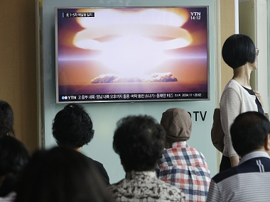 People watch a TV news program reporting North Korea's nuclear test at Seoul Railway Station in Seoul, South Korea, Friday, Sept. 9, 2016. North Korea said Friday it conducted a