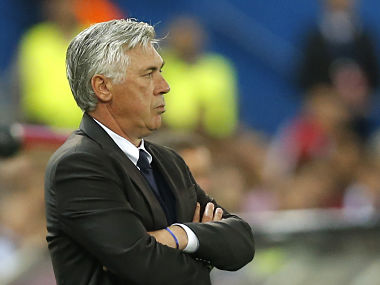 Bayern's head coach Carlo Ancelotti during the Champions League quarter-finals against Real Madrid. AP