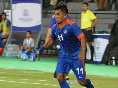 File photo of Indian captain and striker Sunil Chhetri ISL Twitter