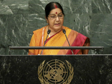 Sushma Swaraj delivering her address at UNGA. AP