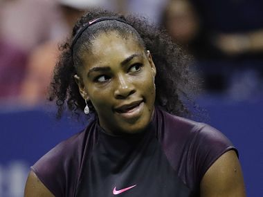 Serena Williams reacts during the semifinals against Karolina Pliskova. AP