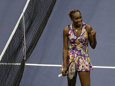 Venus Williams reacts after defeating Julia Goerges of Germany during the second round of the US Open. AP