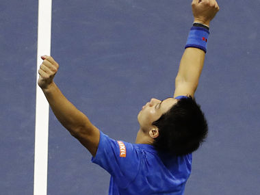 Kei Nishikori of Japan, celebrates after beating Andy Murray. AP