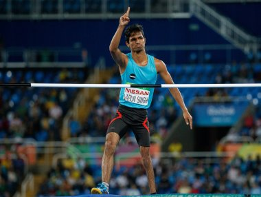 Varun Singh Bhati in the men's high jump - T42 final. AFP