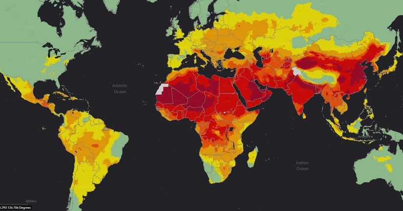 WHO Pollution map. WHO