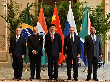 (from left) Michel Temer, Narendra Modi, Xi Jinping, Vladimir Putin and Jacob Zuma ahead of the 8th Brics Summit. Image courtesy: @BRICS2016