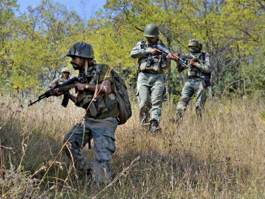 File image of CRPF personnel performing a combing operation. PTI