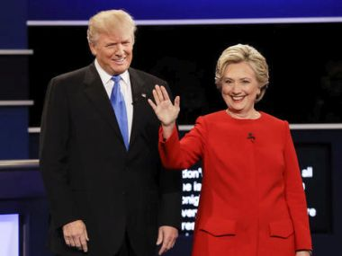 Donald Trump and Hillary Clinton introduced during the presidential debate. AP