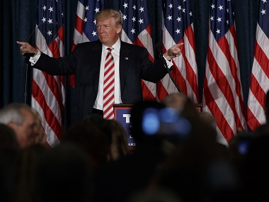 Republican presidential candidate Donald Trump speaks about national security on Wednesday. AP