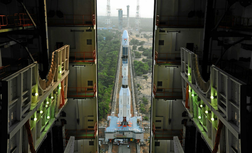Fully integrated GSLV-F05 coming out of the Vehicle Assembly Building. Isro