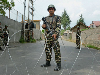 Security guards in Kashmir. PTI