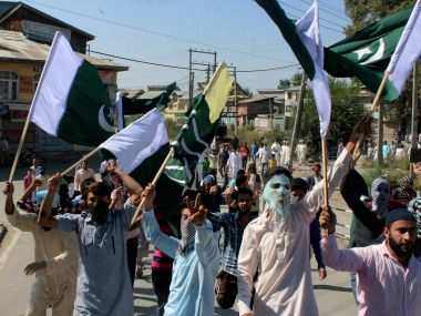 A file picture of protestors broke out in Kashmiri following the death of Hizbul Mujahideen commander Burhan Wani in July. PTI