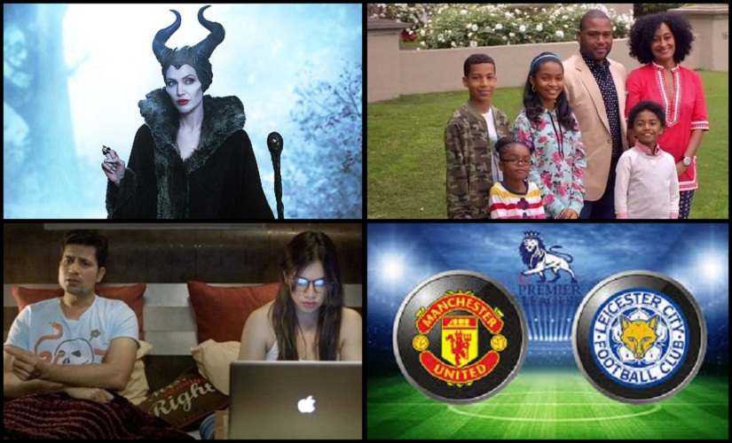 Clockwise: A still from Maleficent, Black-ish, Permanent Roommates and Man United vs Leicester City match.