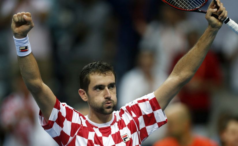 Croatia's Marin Cilic celebrates after winning his match. AP