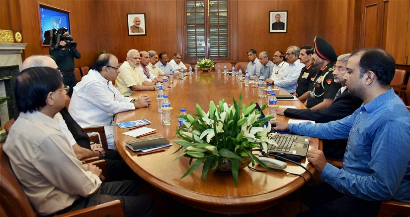Prime Minister Narendra Modi chairing the CCS meeting on the situation on LoC. PTI