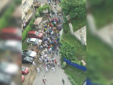Residents outside Kolkata's Fort Oasis. News 18