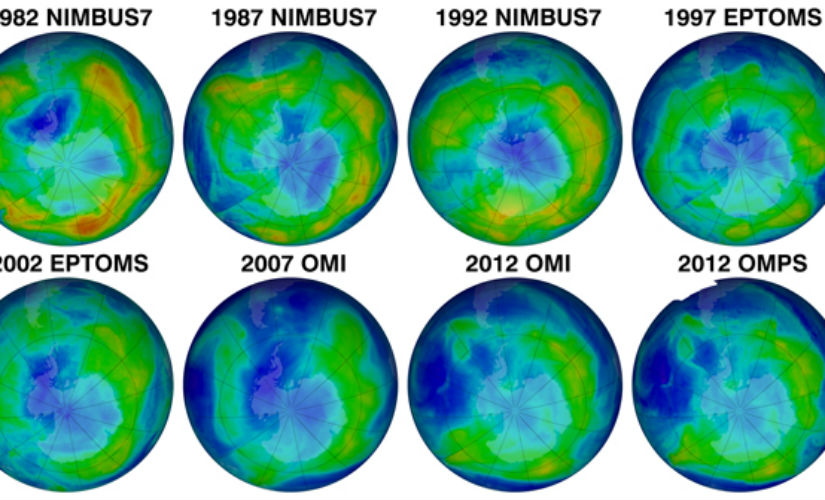 The thickness of the Earth's ozone layer on January 27th from 1982 to 2012. Photo: Nasa