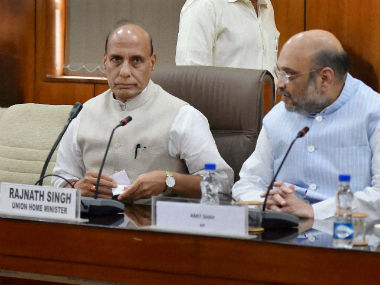 Rajnath Singh and Amit Shah during the all-party meeting. PTI