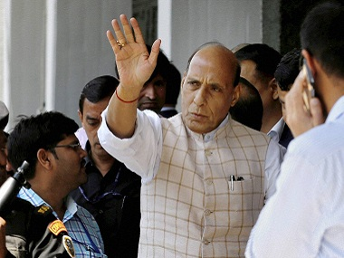 File image of Union Home Minister Rajnath Singh in Srinagar on Sunday. PTI
