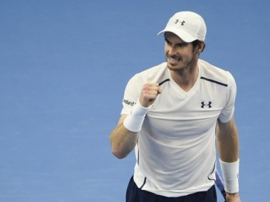 Andy Murray reacts after defeating Andrey Kuznetsov. AFP