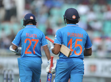 India's batsmen Ajinkya Rahane and Rohit Sharma wear t-shirts display their mother's names during the fifth ODI against New Zealand. AFP