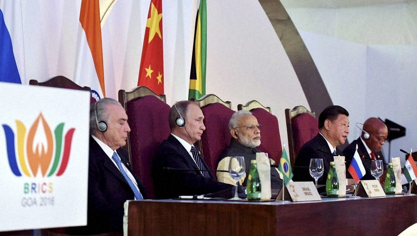 Benaulim: Prime Minister Narendra Modi, Brazilian President Michel Temer, Russian President Vladimir Putin, Chinese President Xi Jinping and South African President Jacob Zuma at the press statement during the Brics Summit in Goa on Sunday. PTI