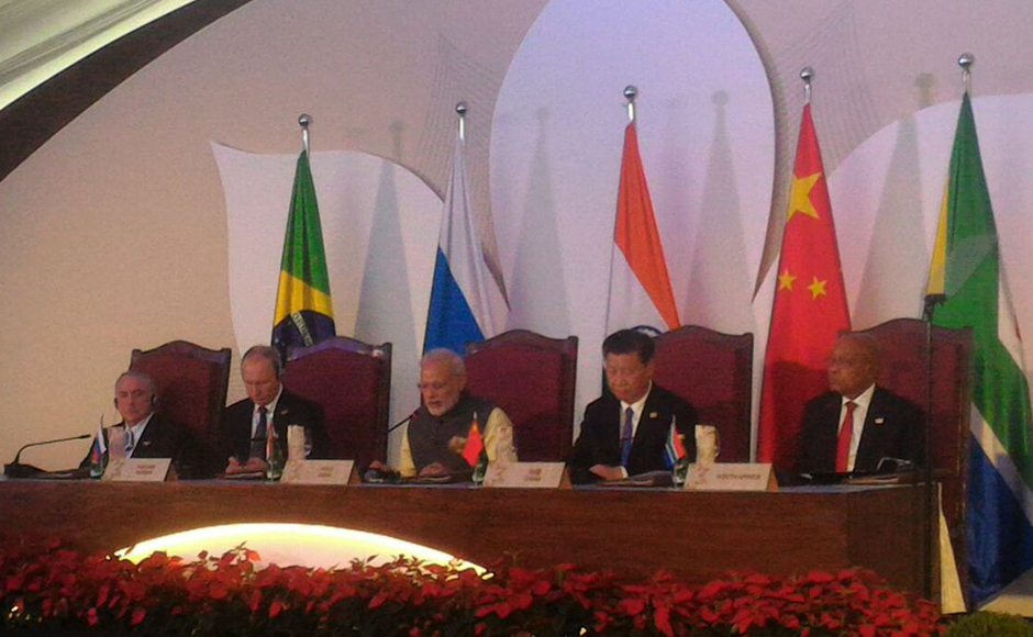 """Calling Pakistan a """"mothership"""" of terrorism worldwide, Prime Minister Narendra Modi on Sunday sought decisive global action such as systematically cutting off funding, weapons supply, training and political support to terror outfits and asserted that selective approach to deal with the menace will be not only futile but also counter- productive. Summit leaders meet at the Brics Business Council. (Photo: Twitter@Brics2016)"""