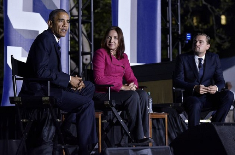 US President Barack Obama speaks during a discussion on climate change with actor Leonardo DiCaprio (R) and climate scientist Katharine Hayhoe (C) during the South by South Lawn (SXSL) festival at the White House on October 3, 2016 in Washington, DC. / AFP / Mandel Ngan (Photo credit should read MANDEL NGAN/AFP/Getty Images)