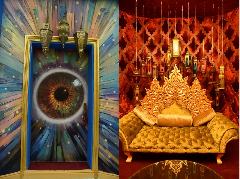Entrance to, and inside, the Confession Room