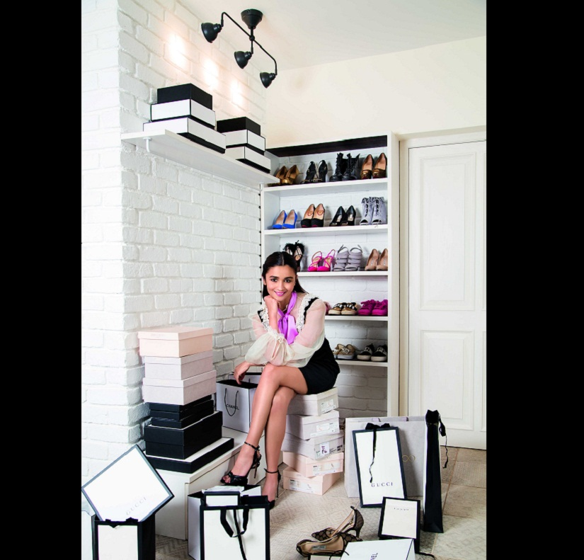Alia in the corner of her dressing room dedicated to her shoes. Photo courtesy Prasad Naik. By arrangement with Architecture Digest India