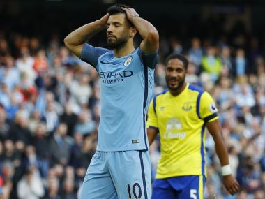 Manchester City's Sergio Aguero after missing a penalty. Reuters
