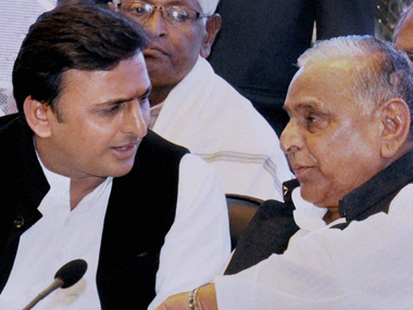 UP Chief Minister Akhilesh Yadav and SP supremo Mulayam Singh Yadav in a file photo. File photo. PTI
