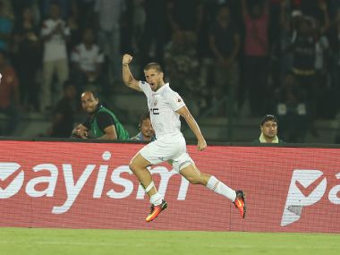NorthEast United's Alfaro scored twice as the Highlanders beat FC Goa 2-0. Image Courtesy - ISL