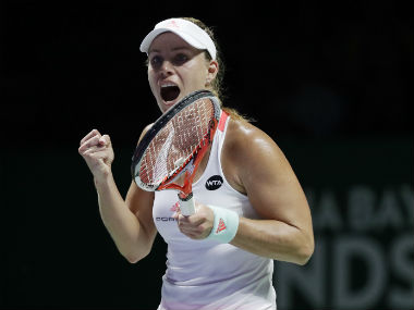 Angelique Kerber reacts after winning a point against Simona Halep. AP