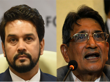File picture of Anurag Thakur (L) and Justice RM Lodha. AFP