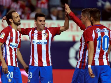 Atletico Madrid's players celebrate. Reuters