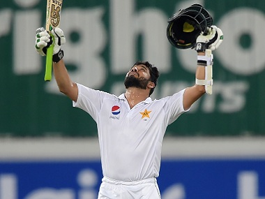 Pakistani batsman Azhar Ali celebrates after getting to his century. AFP
