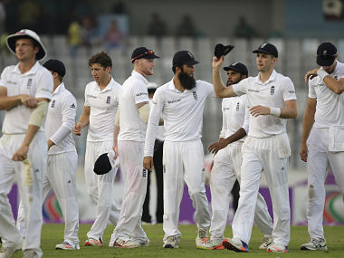 England's players leave the ground at the end of the second day of their second Test match against Bangladesh. AP