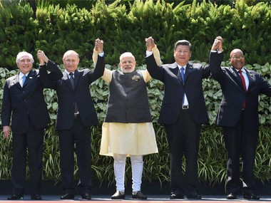 Prime Minister Narendra Modi with Chinese President Xi Jinping, Russian President Vladimir Putin, South African President Jacob Zuma and Brazilian President Michel Temer. PTI