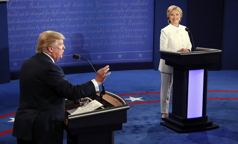 Donald Trump with Hillary Clinton during the third presidential debate at UNLV in Las Vegas. AP