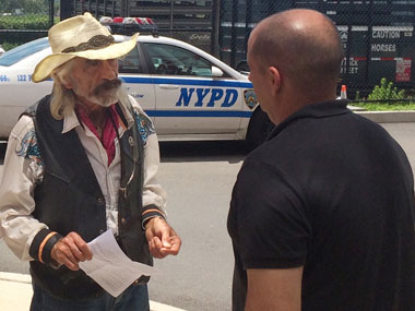 "In this June 29, 2016 photo, Tod ""Doc"" Mishler, seeks the return of his horses in the Ocean Breeze section of the Staten Island borough of New York. The 80-year-old cowboy, who was arrested in June, 2016 on animal cruelty charges after investigators concluded his horses were malnourished, is suing the city for the return of his horses. AP"