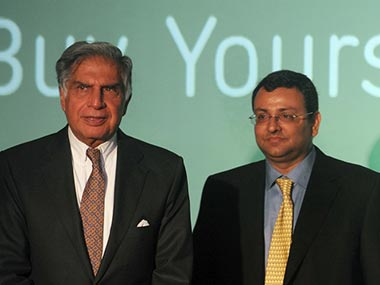 Ratan Tata, interim Chairman, Tata Sons and Cyrus Mistry, former chairman. AFP