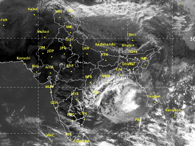 Satellite images show a deep depression building around Indian coast near Orissa. IMD website