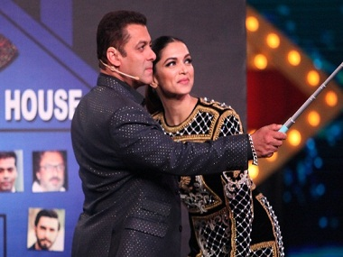 Deepika Padukone with Salman Khan at the grand premiere of Colors TV's Bigg Boss 10