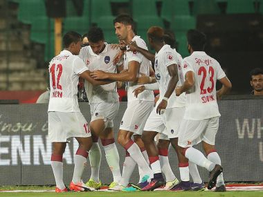 Delhi Dynamos celebrate after scoring against Chennaiyin FC. Image Courtesy - ISL