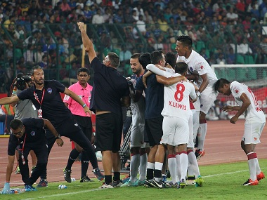 Delhi Dynamos players celebrate a goal during their ISL match against Chennaiyin FC. Sportzpics