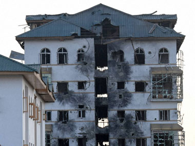 The ravaged Entrepreneurship Development Institute building in Pampore. PTI