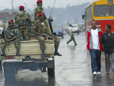 Soldiers patrol the streets in Ethiopia. AP