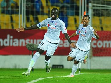 Momar Ndoye of FC Pune City celebrates his goal. ISL