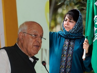 Farooq Abdullah and Jammu and Kashmir Chief Minister Mehbooba Mufti. Firstpost